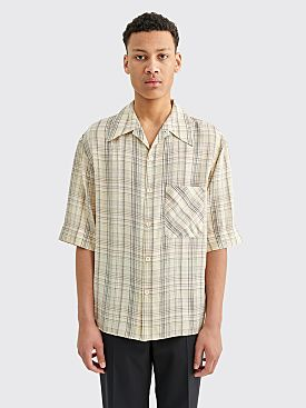 Lemaire Convertible Collar Shirt Checkered Beige