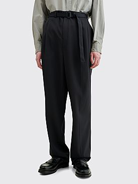 Lemaire Belted Pleat Wool Pants Caviar