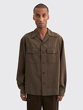 Lemaire Convertible Collar Shirt Dark Brown