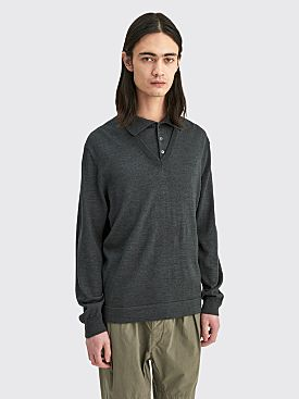 Lemaire Knitted V-Neck Polo Dark Grey
