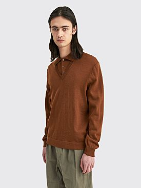 Lemaire Knitted V-Neck Polo Fawn Brown