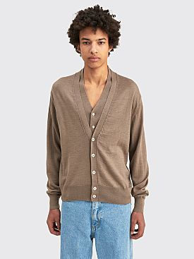 Lemaire Knitted Double Collar Cardigan Grey Beige