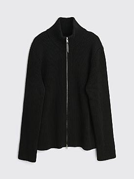 Maison Margiela Ribbed Wool Zip Sweater Black