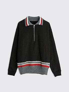 Maison Margiela Half Zip Brushed Cotton Sweater Black