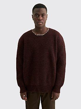 Maison Margiela Rib Knit Wool Sweater Burgundy