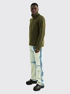 Maison Margiela Rib Knit Wool Cardigan Olive