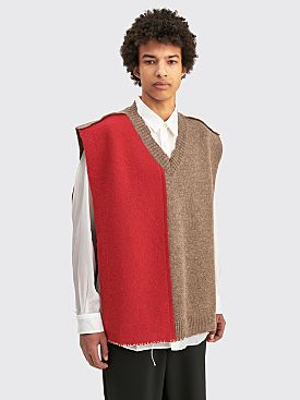 Maison Margiela Wool Knit Vest Walnut / Red