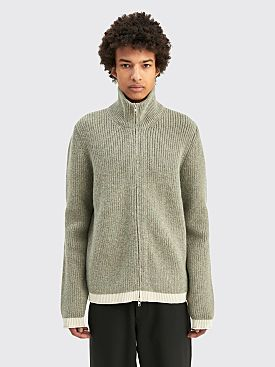Maison Margiela Ribbed Alpaca Cardigan Light Grey / Off White