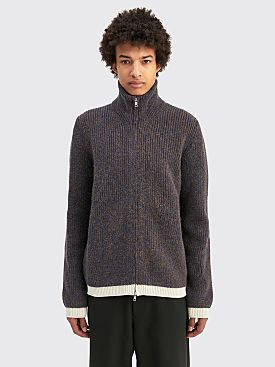 Maison Margiela Ribbed Alpaca Cardigan Blue / Off White