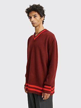 Maison Margiela Oversized Wool V-Neck Sweater Burgundy