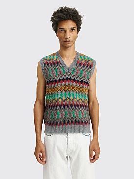 Maison Margiela Jacquard Wool V-Neck Vest Stripe Grey