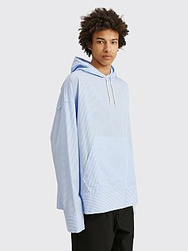 Marni Hooded Cotton Shirt Jacket Blue Stripe