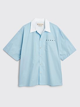 Marni Short Sleeve Contrast Collar Shirt Light Blue