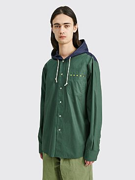 Marni Hooded Cotton Shirt Jacket Green / Blue