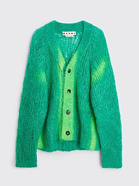 Marni Mohair Spray Cardigan Blue / Green