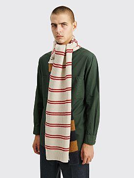 Marni Dual Pattern Knit Scarf Brown / White