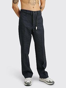 Marni Drawstring Wool Houndstooth Check Pants Black / Navy