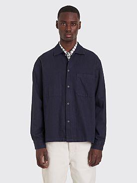 Margaret Howell MHL Factory Linen Shirt Navy