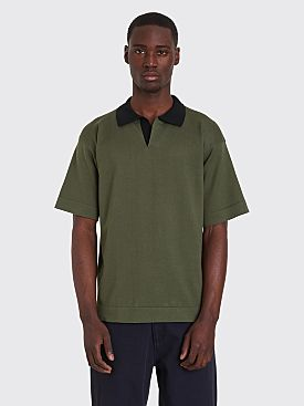 Margaret Howell Rugby Shirt Sea Island Cotton Green / Black