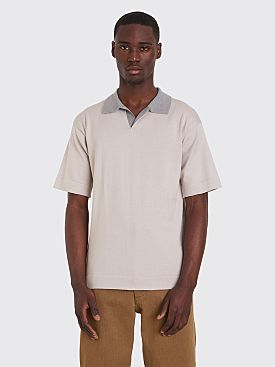 Margaret Howell Rugby Shirt Sea Island Cotton Beige / Silver
