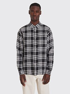 Margaret Howell Oversized Linen Shirt Checks Black / White