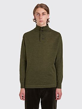Margaret Howell MHL Stand Collar Thermal Wool Sweater Olive