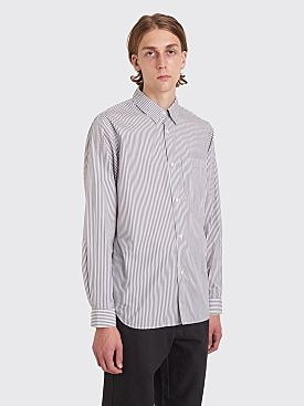 Margaret Howell Washed Basic Shirt Bold Stripe White / Charcoal