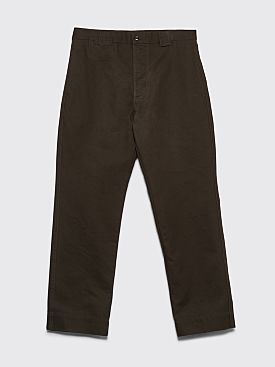 Margaret Howell MHL Tapered Cotton Drill Pants Dark Olive