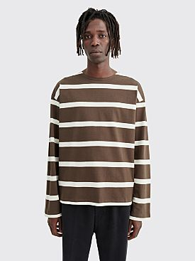 Margaret Howell MHL Matelot LS T-shirt Wide Stripe Bark / Ecru