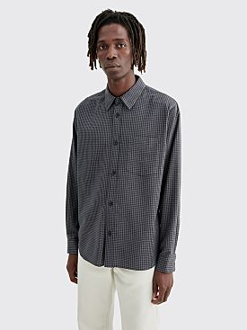 Margaret Howell Minimal Cotton Cashmere Shirt Checkered Grey