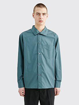 Margaret Howell New Faced Collar Shirt Plain Poplin Teal
