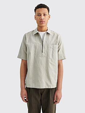 Margaret Howell MHL Zip Fly Cotton Linen Drill Shirt Cloud