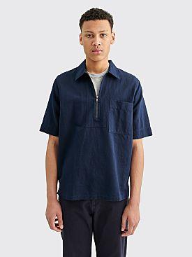 Margaret Howell MHL Zip Fly Cotton Linen Drill Shirt Ink