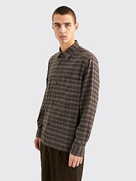 Margaret Howell Oversized Shirt Irregular Check Cash Brown / Grey