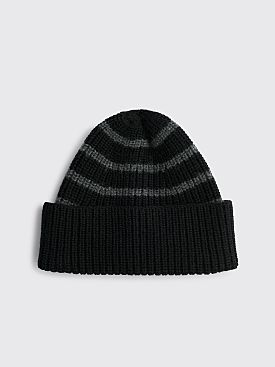 Margaret Howell MHL Stripe Rib Hat Wool Black / Grey