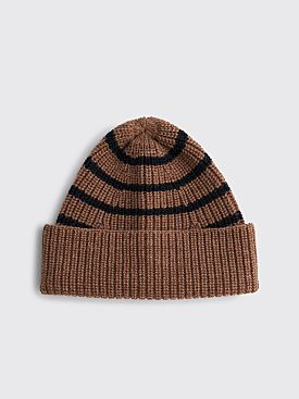 Margaret Howell MHL Stripe Rib Hat Wool Ginger / Navy