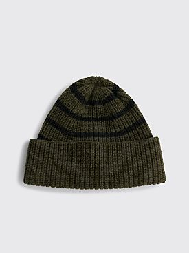 Margaret Howell MHL Stripe Rib Hat Wool Olive / Black