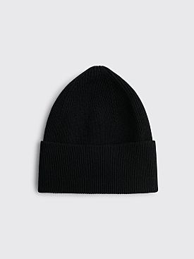 Margaret Howell Ribbed Beanie Merino Cashmere Black