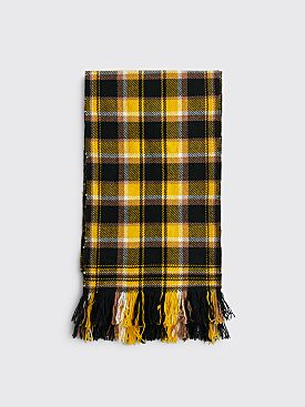 Margaret Howell Blanket Check Scarf Lambswool Yellow / Black
