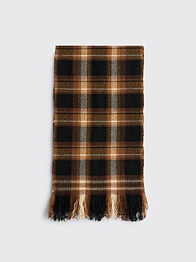 Margaret Howell Blanket Check Scarf Lambswool Tan / Black