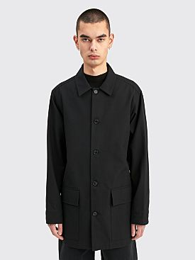 Margaret Howell Long Overshirt Brushed Wool Twill Black