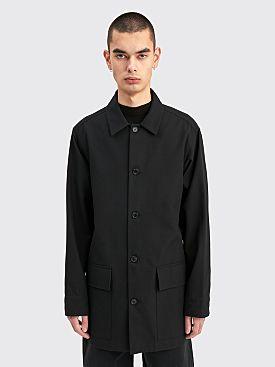 Margaret Howell Long Overshirt Brushed Wool Twill Black