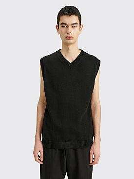 Margaret Howell Heavy Knit Slipover Irregular Spun Cotton Black