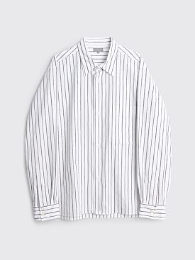 Margaret Howell Oversized Shirt Triple Stripe Cotton Poplin White / Brown