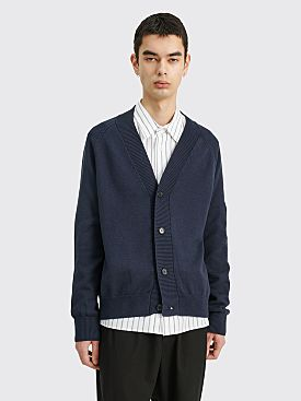 Margaret Howell Rib Collar Cardigan Cotton Wool Indigo