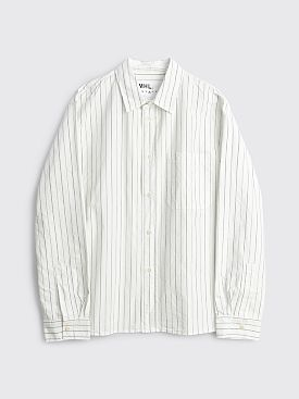 Margaret Howell MHL Painters Shirt Graphic Stripe Off White / Indigo