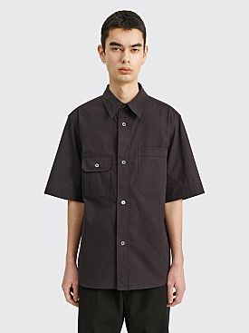 Margaret Howell Short Sleeve Odd Pocket Shirt Dense Cotton Black