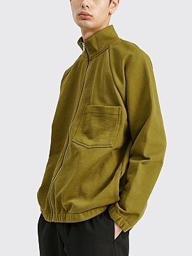 Margaret Howell MHL Raglan Zip Up Dry Loopback Jersey Olive Leaf