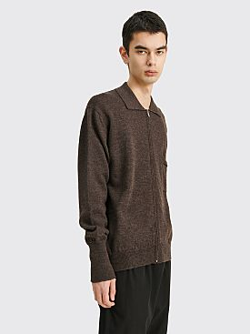 Margaret Howell Polo Neck Cardigan Fine Merino Wool Dark Brown