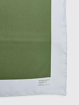 Margaret Howell Block Print Scarf Silk Twill Sorrel / Dusty Blue